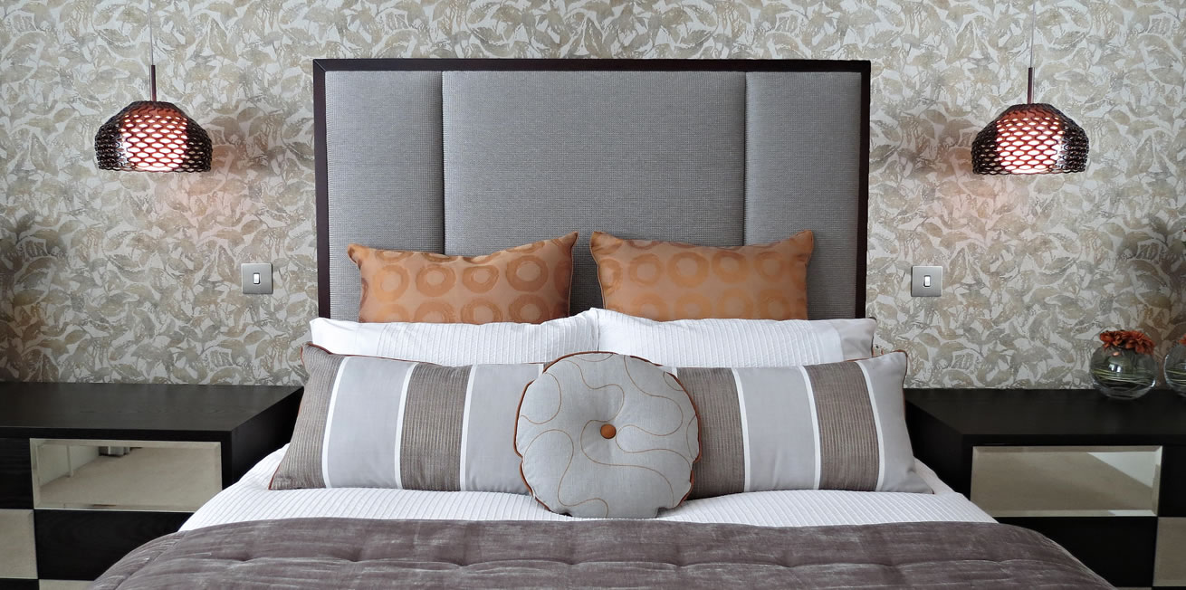 Contemporary bed furnishings grey