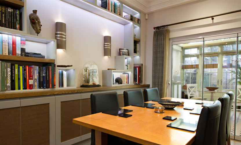 Contemporary shelving and dining area
