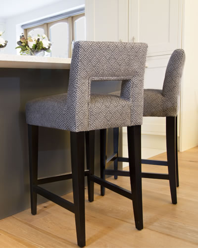 Grey material dining chairs