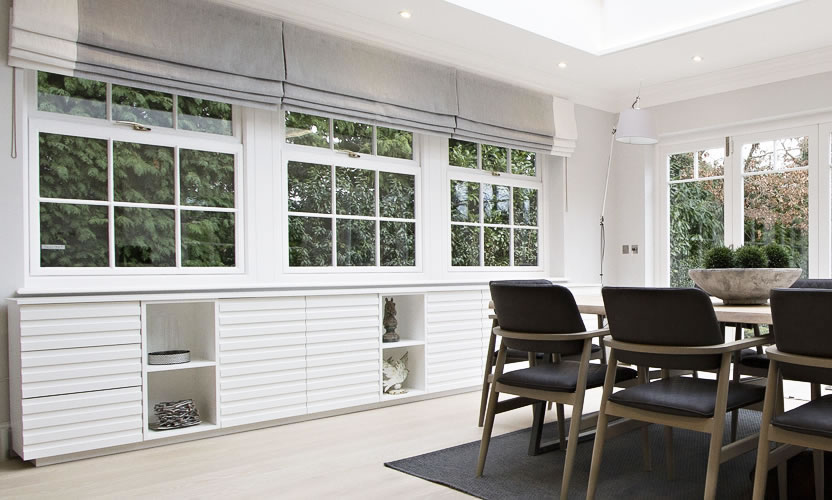 White Sideboard in Dining Room