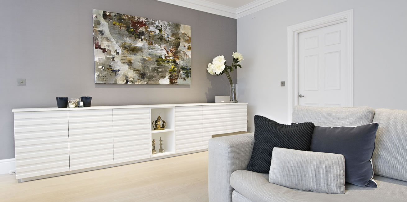 White Sideboard with Grey Wall