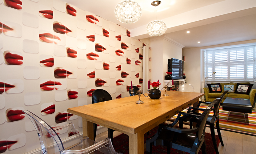 The Brief Was To Create A Retro Rolling Stones Inspired Statement Dining Living Room With Bright Colours And Finishes Compliment My Clients Art